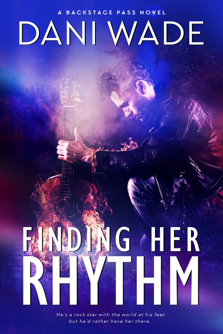 Finding Her Rhythm book cover with musician kneeling with a guitar in a cloud of purple smoke