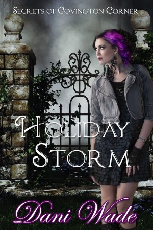 Holiday Storm cover. Picture of rocker woman in front of a gate in the snow.